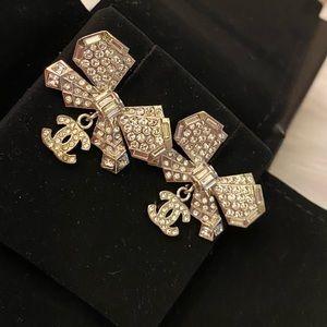 Chanel Diamond bow CC dangle earrings silver